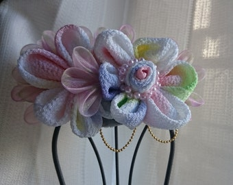 Pink organza and Japanese fabric hairclip