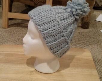 Children's crochet hat - shimmery blue