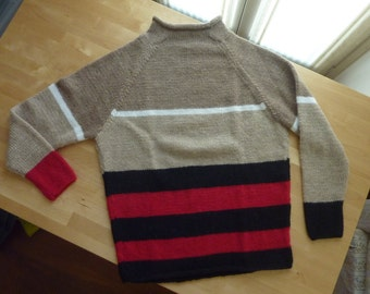 Alpaca Sweater Striped Handmade Raglan Sleeve Round Neck