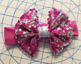 Pink and Silver Sequin Bow Headband, Newborn Headband, Baby Headband, Child Headband, Adult Headband, Newborn Photo Prop, Photo Prop