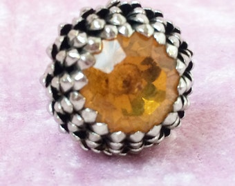 Adjustable Vintage Look Yellow Stone Ring