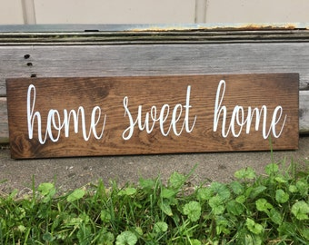 Home Sweet Home Sign, Rustic Wooden Sign, Farmhouse Decor, Home Decor,Wall Art, Customizable Sign, Photo Prop, Housewarming Gift, 20 X 5.5,