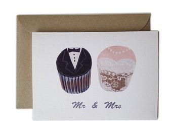 Wedding card, Mr and Mrs cupcake, Congratulations