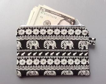 white elephant cute coin purse, zipper pouch, purse, change purse, coin pouch, money wallet.