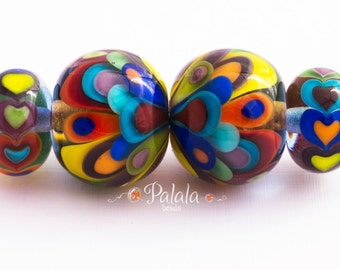 Pair of Lampwork Rainbow Beads