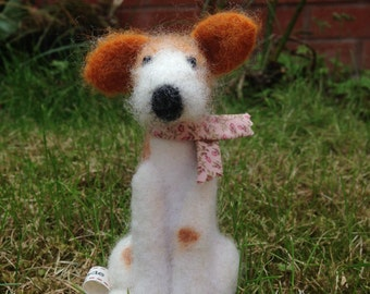 Hand Made Needle Felted Dog (100% wool)