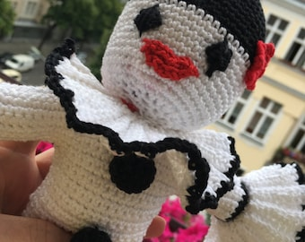 Cuddly crochet clown Pierrot