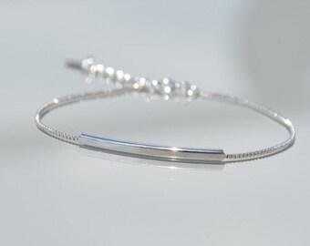 Fine minimalist 925 sterling silver bracelet - tube - ZOUX044