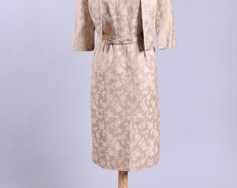 1950 Cream Brocade Vintage Wedding Ensemble