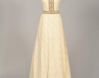1960 Jeweled Crochet Vintage Wedding Gown