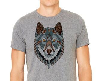Wolf shirt, Gray T-shirt, Men's t-shirt, wolf tee