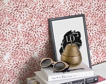 Watercolor Flower Wallpaper, Floral Regular or Removable Wallpaper, Flower Pattern Wallpaper