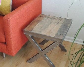 X Series reclaimed wood end table