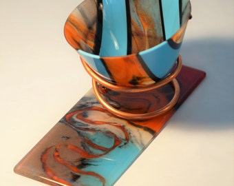 "Glass Art Vessel ""Sedona Burning"""