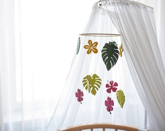 Wooden baby mobile tropical, Nursery Mobile, Woodland Mobile, Baby Mobile, tropical nursery