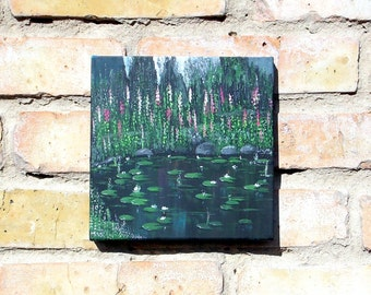 Original painting, Acrylic painting, Small painting, Painting flowers, Lilies, Abstract painting, Blue, Wall painting, Ukraine, Modern art