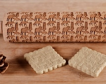 WOLF Pattern Rolling Pin,Engraved rolling for cookies,wooden rolling