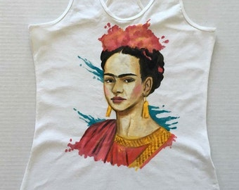 Hand painted Frida Kahlo tank top