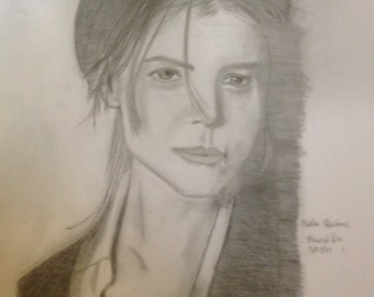 "Black and White Print Drawing of Katie Holmes, circa 2007  (""Models and Celebrities,"" 1 of 4)"