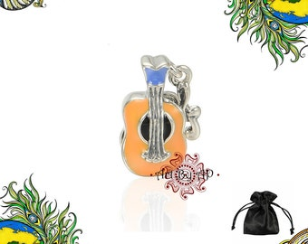 S925 Sterling Silver, Guitar Musical note Charm, Orange,Blue, fit Pandora