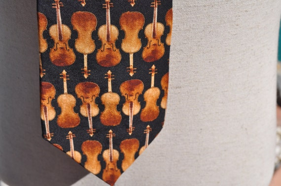 Brown Gold and Black Unicef UN Children's Fund Silk Tie with Italian Violin Design Stradivari Circa 1730