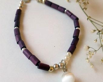 Beach Bracelet with Coconut Husk Beads, metal and glass pearls | Friendship Bracelet