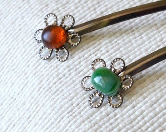 Glass Bobby Pins,Green Hair Pin,Amber Hair Clips,Fall Jewelry,Thanksgiving Jewelry,Christmas Gift,Autumn Gift,Gift For Her,Accent Hair Pins,