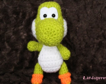Yoshi-inspired Amigurumi (Dragon, Super Mario, oldschool, games, cute, cool, cute, little, present, birthday, birthday, gift, fesh)