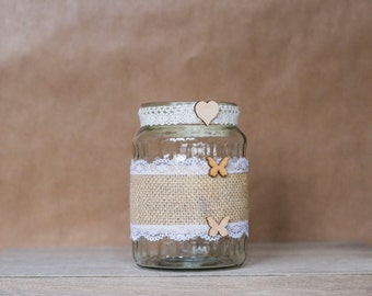 Rustic Two Butterflies jar - Large