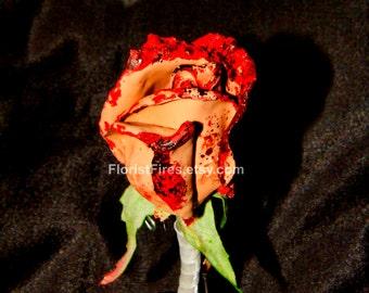 Flesh Flower™ Bloody Skin Rose Gory Boutonniere Corsage Horror Movie Prop Goth Prom Wedding Halloween Costume Anti Valentine Divorce Party