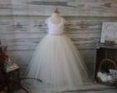 Free Shipping to USA Custom Made Girls Ivory  Floor Length Tulle Skirt -for Flower Girl,Country Wedding,Rustic Wedding for Flower girl
