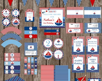 Nautical, Sailboat Birthday Party Pack Printable -  Digital
