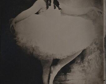 "Ballerina Small No. 1 - Black Glass Photograph (Ambrotype) - 4"" X 6.5"""