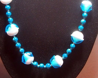 Blue & White Lampwork Bead Necklace