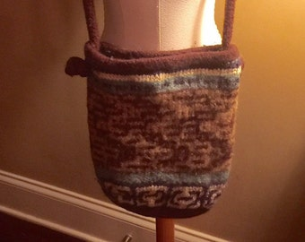 hand knit boiled wool boho handbag