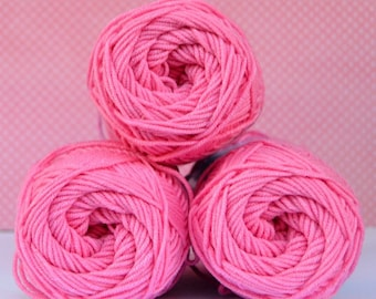 Kacenka - soft cotton/acrylic yarn for crochet and knitting, Bright pink color, No. 3334, 1 ball/50 g, Producer NCT