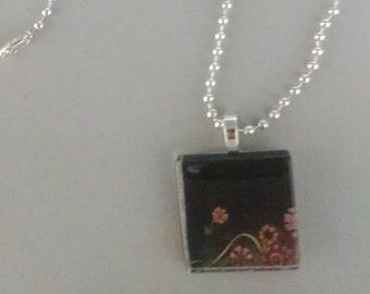 SALE - Black with Pink Flowers Glass Tile Necklace