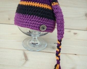 Crochet Elf hat, Elfin Photo Prop, Elfin Newborn Baby Hat, Baby Girl Hat, Gnome hat, a striped Elf hat, newborn photo prop