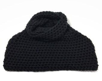 warm wool winter crochet capelet cape infinity scarf knit women // The Windsor Capelet
