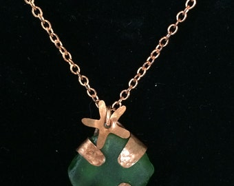 Reversible Sea Glass Starfish Necklace