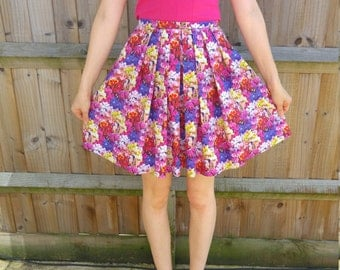 Digital print floral mini skirt