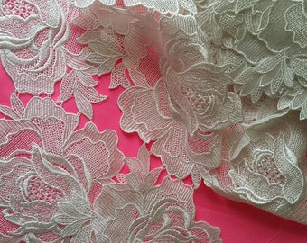 White Rose Lace Applique Lace Trim By the Yard
