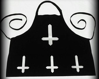 Satanic Apron BBQ apron, Satanic apron, Inverted cross, Satanic clothing