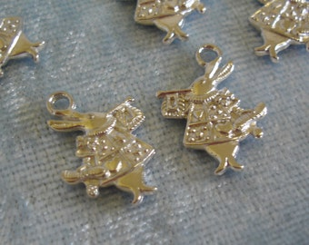 8 x White Rabbit Charms - Tibetan Silver