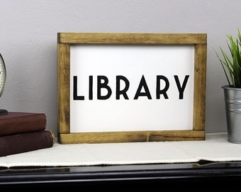 Wall Decor- Library Sign; Handmade & Hand-painted Home Decor for the Book Lover