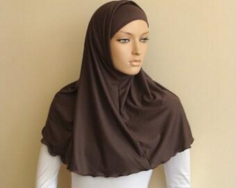 Walnut color Hijab Two Piece,Al Amira style,  Brown Hijab, Scarf handmade, viscose hijab, prayer scarf, islamic scarf, eid gift ideas, burqa