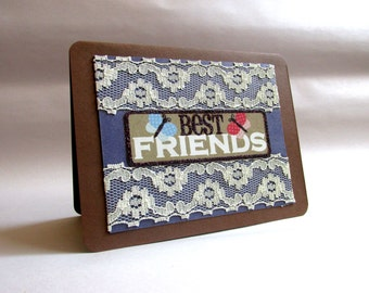 "Handmade ""Best Friends"" Vintage-look Greeting Card"