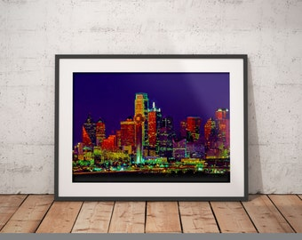 Dallas At Night Print