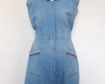 "50s SAILOR DRESS | Pin-Up | Denim Navy Dress Original Vintage  26"""