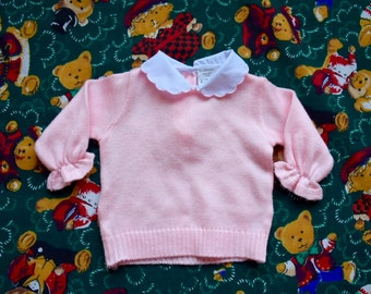 Baby Girl's Vintage Collared Pink Long Sleeved Top
